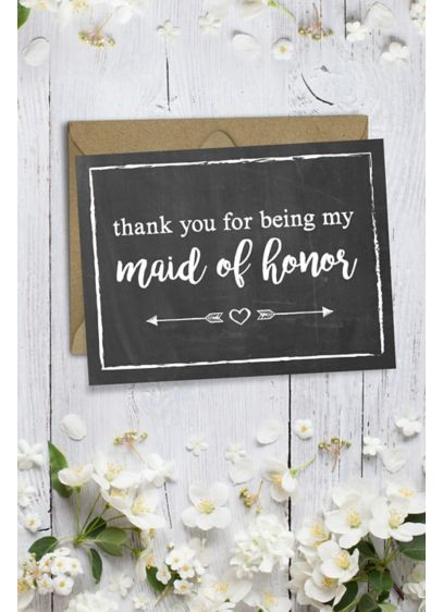 Chalkboard Maid of Honor Thank You Card - Wedding Gifts & Decorations