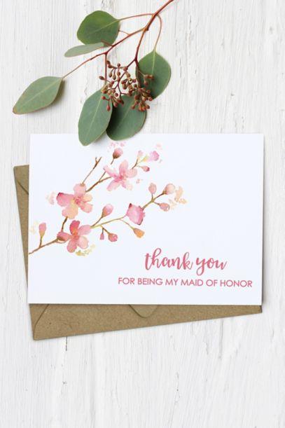Floral Maid Of Honor Thank You Card David S Bridal