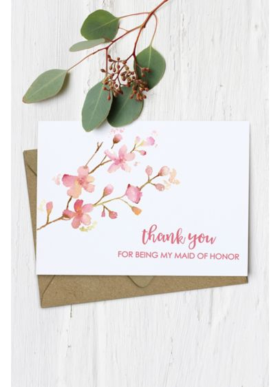 Floral Maid of Honor Thank You Card - Wedding Gifts & Decorations