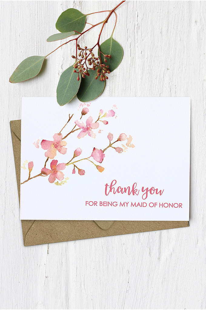 Floral Maid of Honor Thank You Card - Put pen to beautiful paper on this floral