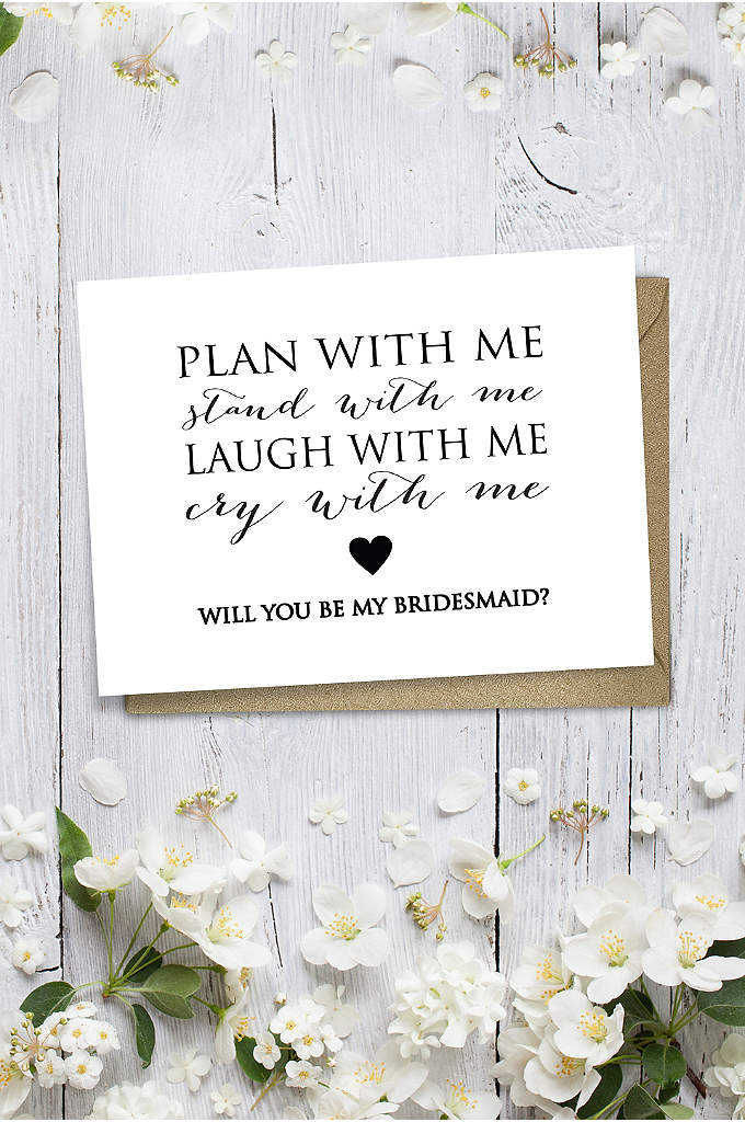 Heart Will You Be My Bridesmaid Wedding Card - Ask a friend to be in your bridal