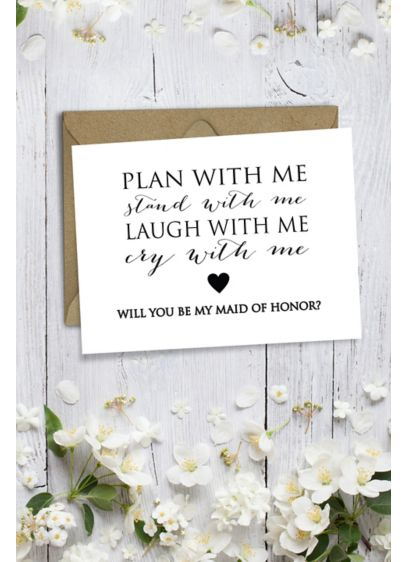 Heart Will You Be My Maid of Honor Wedding Card - Wedding Gifts & Decorations