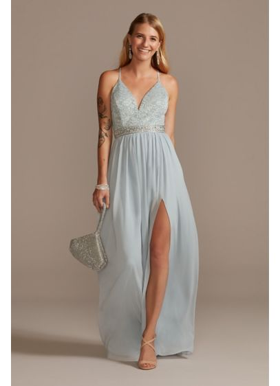 Lace Back Spaghetti Strap Dress with Beaded Belt - A simple yet timeless silhouette, this long chiffon