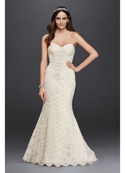 Oleg Cassini Strapless Lace Trumpet Wedding Dress - Feminine and elegant, this strapless sweetheart trumpet gown