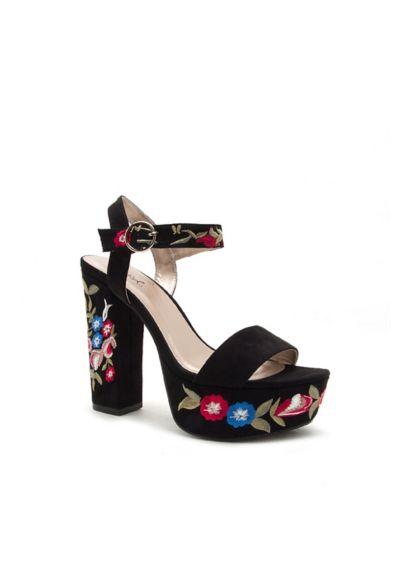 Qupid Pink (Floral-Embroidered Faux-Suede Platform Heels)