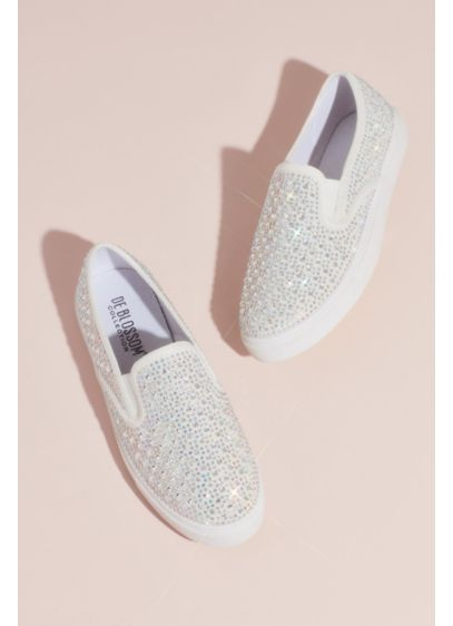 Crystal-Studded Slip-On Sneakers - Sport these sparkly slip-on sneaks under your wedding