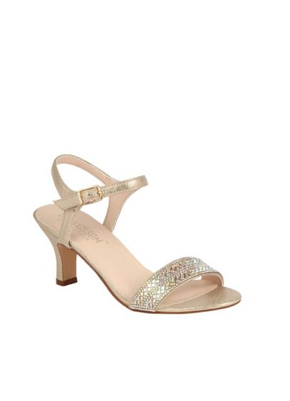 Crystal Encrusted Strap Heeled Ankle Sandals - Diamond-cut crystals add sparkling detail to the toe