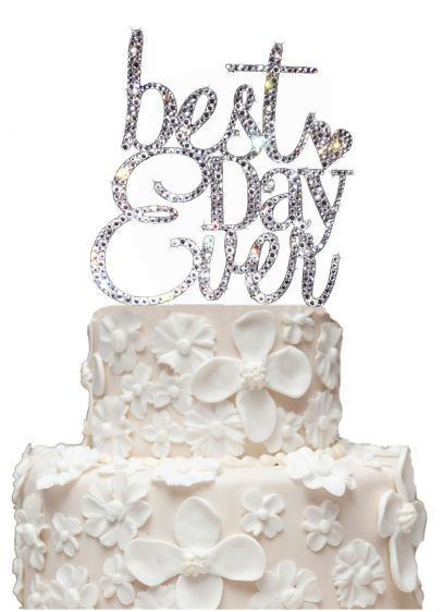 Rhinestone Best Day Ever Cake Topper - Wedding Gifts & Decorations