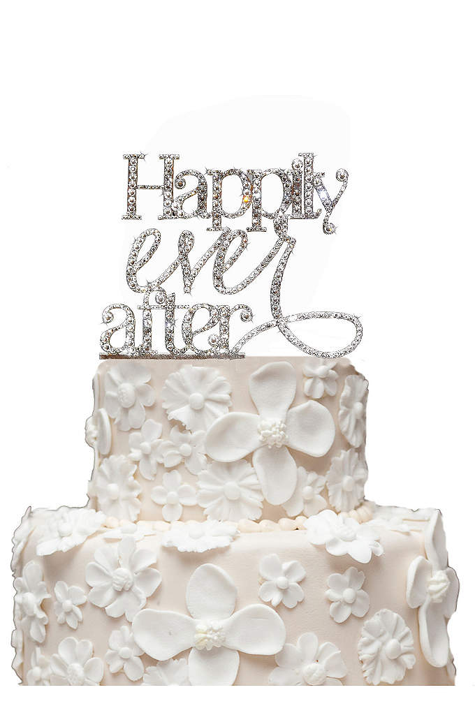 Rhinestone Happily Ever After Cake Topper - This gorgeous Happily Ever After wedding cake topper
