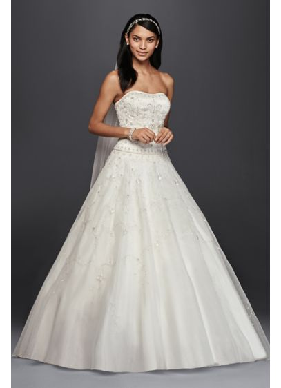 Oleg Cassini Satin Bodice Organza Wedding Dress | David\'s Bridal