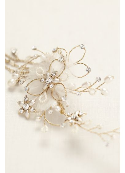 Double Flower Headpiece with Chain Swags | David\'s Bridal