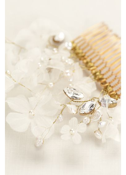 Silk Organza Fresh Water Pearl Comb - Wedding Accessories
