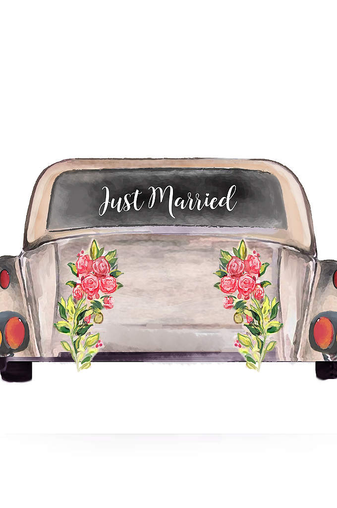 Just Married Car Window Cling - Stick this Just Married Car Window Cling to