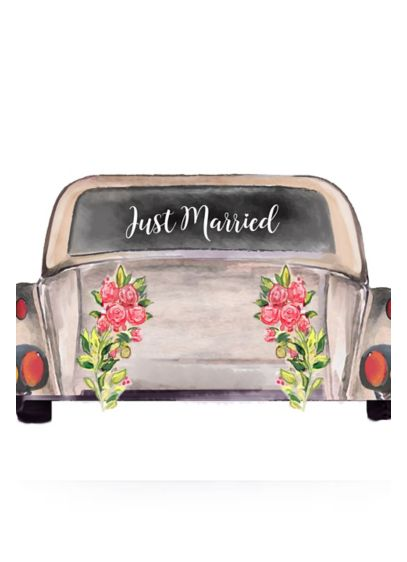 Just Married Car Window Cling - Wedding Gifts & Decorations