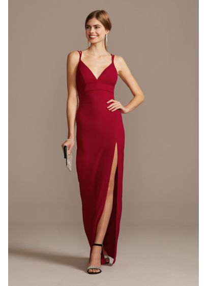 Double Spaghetti Strap Deep-V Dress with Slit - Unembellished but far from boring, this flirty gown