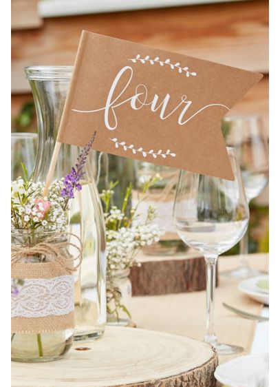 Scripted Kraft Paper Table Number Flags - Wedding Gifts & Decorations