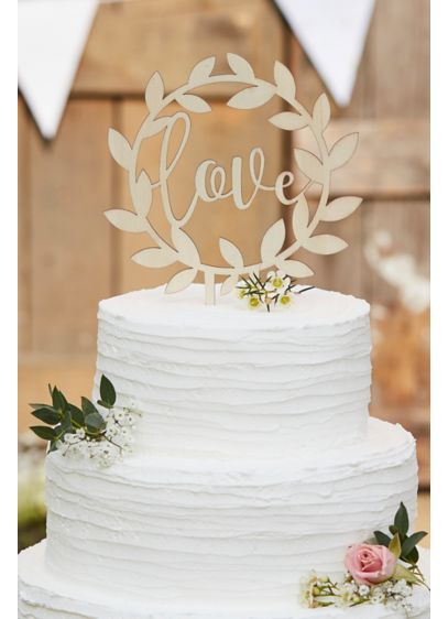 Love Wooden Vine Cake Topper - An elegant addition to a rustic wedding reception,