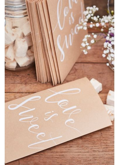 Love Is Sweet Kraft Paper Treat Bags - Wedding Gifts & Decorations
