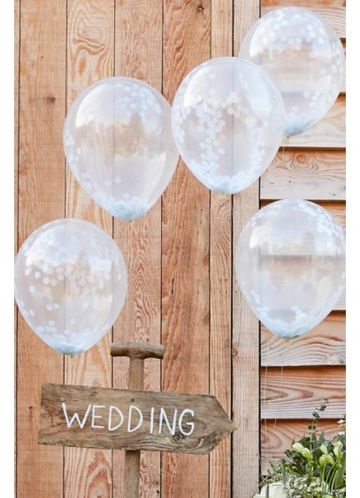 12 Inch White Confetti Filled Balloons - Wedding Gifts & Decorations