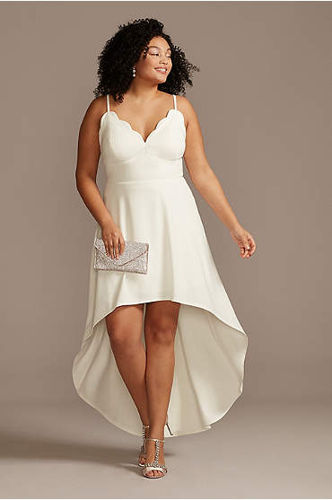 Scalloped V-Neck Plus Size Dress with High Low Hem