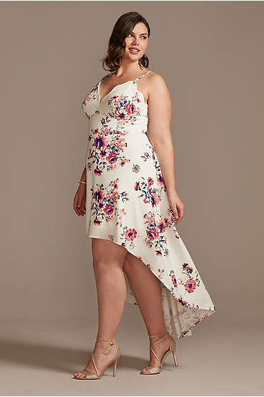 Scalloped Spaghetti High Low Floral Plus Dress