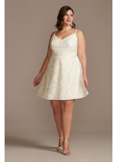 Embroidered Glitter Damask Plus Size Mini Dress - This spaghetti strap plus-size mini dress pairs a