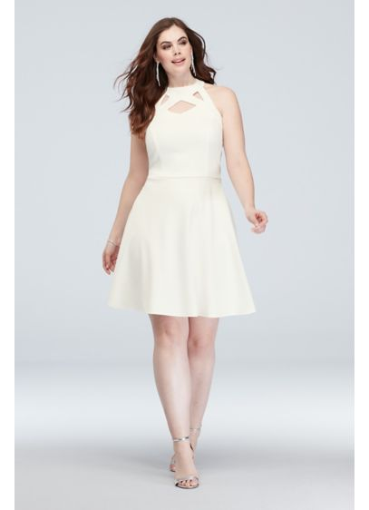 High-Neck Cutout Scuba Crepe Plus Size Dress - This traditional high-neckline plus-size style gets a fun