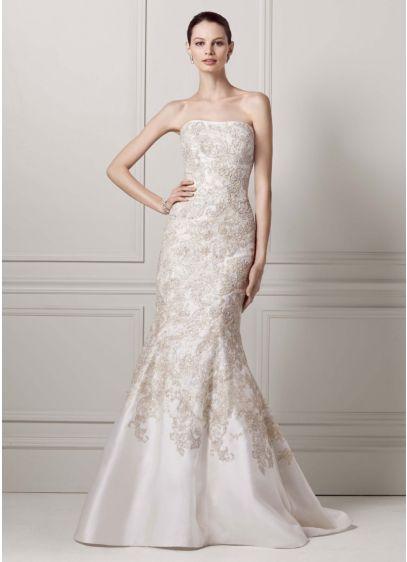 Long Mermaid / Trumpet Formal Wedding Dress - Oleg Cassini