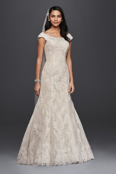 Oleg Cassini Off The Shoulder Lace Wedding Dress David S