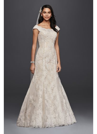 Oleg Cassini Off The Shoulder Lace Wedding Dress | David\'s Bridal