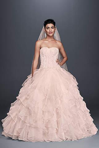Pink wedding dresses gowns davids bridal long ballgown formal wedding dress oleg cassini junglespirit Images