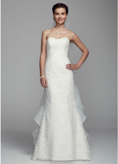 Long Mermaid/ Trumpet Formal Wedding Dress - Oleg Cassini
