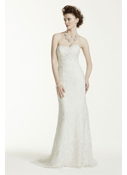 Oleg Cassini Lace Wedding Dress with Pearl Beads | David\'s Bridal