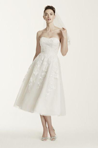 Oleg Cassini Tulle Short Wedding Dress With Lace