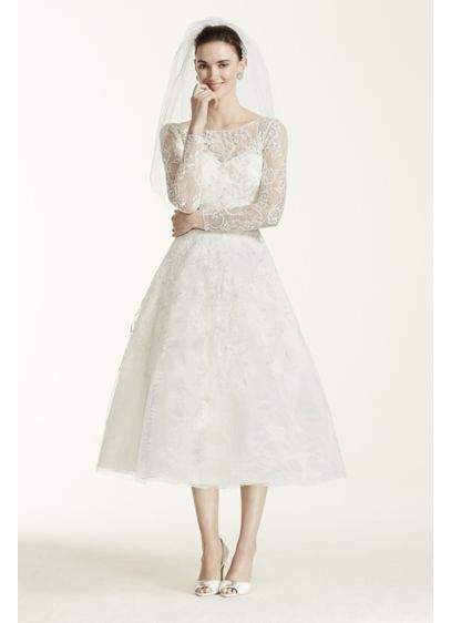 Oleg Cini Tea Length Lace Tulle