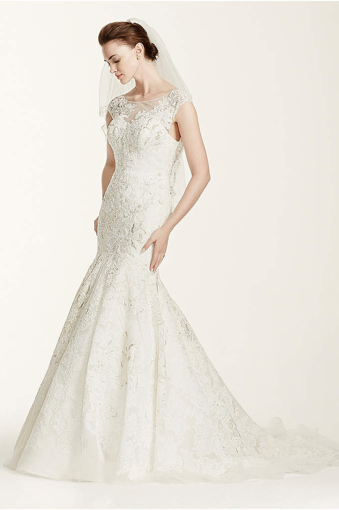 Oleg Cassini Cap Sleeve Wedding Dress with Lace