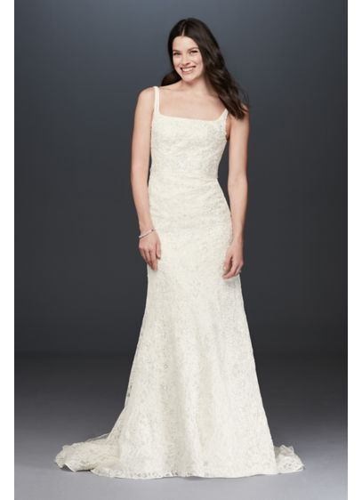 Oleg Cassini Tank Lace Wedding Dress with Beading - Beautifully designed with a modern neckline, this exquisite