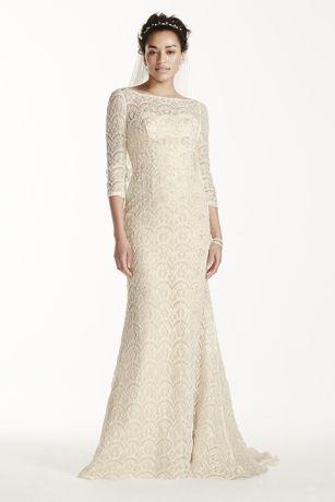 Oleg Cassini Beaded Lace 3/4 Sleeved Wedding Dress | David\'s Bridal