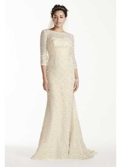 Oleg Cassini Beaded Lace 3/4 Sleeved Wedding Dress | David\'s Bridal