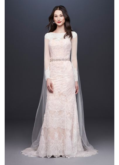 Oleg Cassini Illusion Long Sleeve Wedding Dress - This lavish lace sheath dress is absolutely charming!