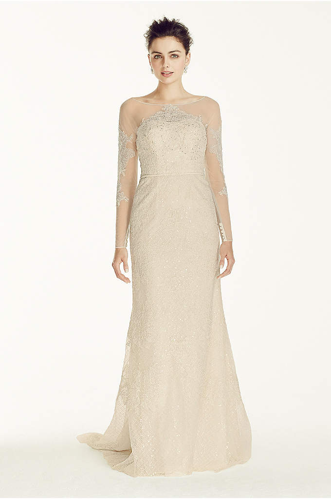 Oleg Cassini Illusion Sleeved Lace Wedding Dress - This is truly a showstopper of a gown!