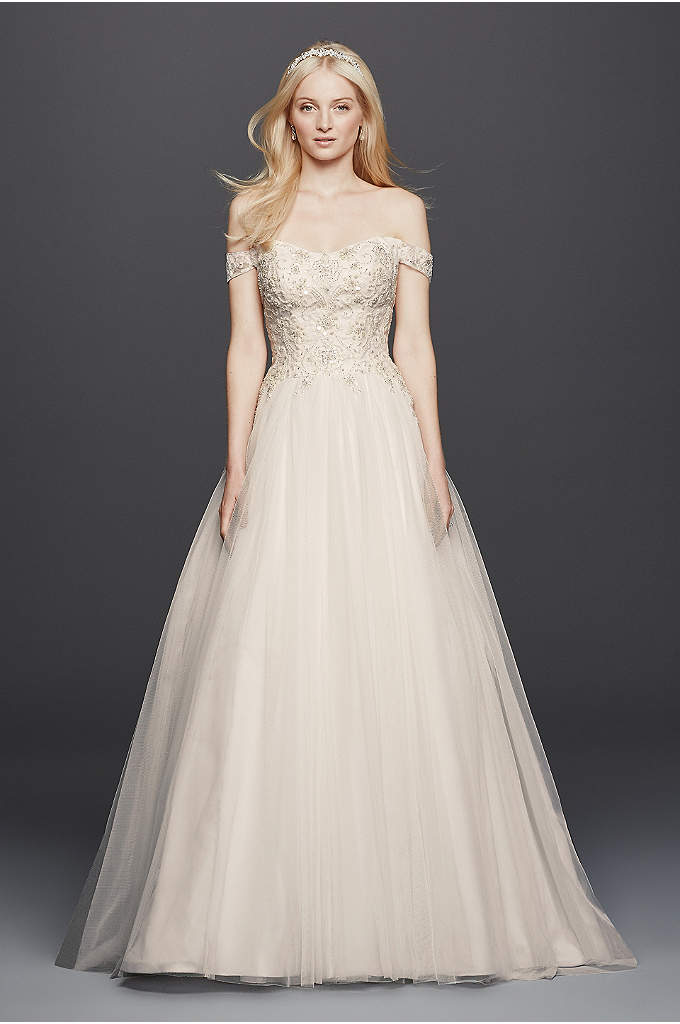 Oleg Cassini Off the Shoulder Tulle Wedding Dress - Off-the-shoulder swag sleeves add romance to this classic