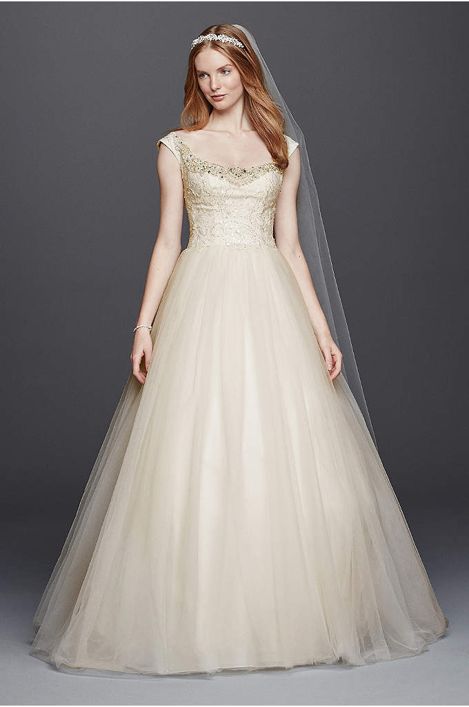 Oleg Cassini Embellished Tulle Wedding Dress - Inspired by estate jewelry and sewn with seven