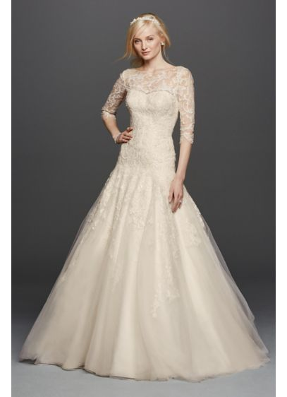 Oleg Cassini A-line Illusion Lace Wedding Dress | David\'s Bridal
