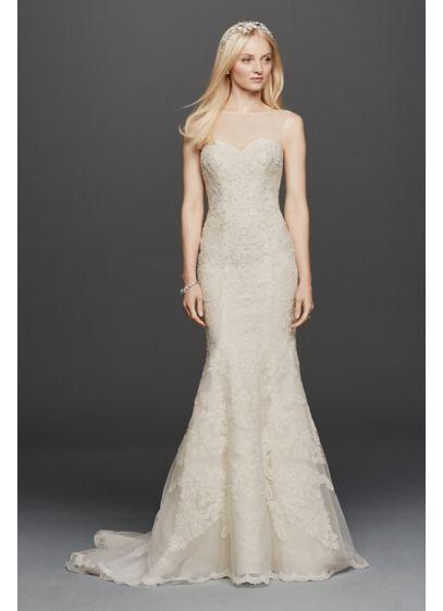 f525de334d Oleg Cassini Sleeveless Lace Mermaid Wedding Dress | David's Bridal