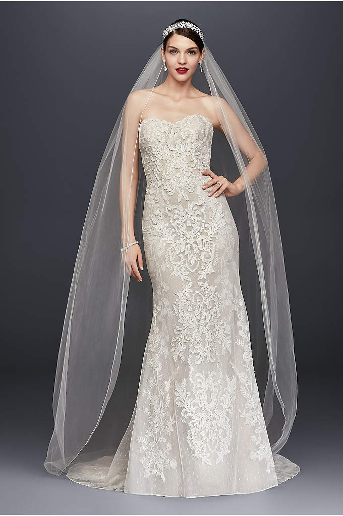 Oleg Cassini Strapless Lace Sheath Wedding Dress - Layers of lace create multidimensional texture on this