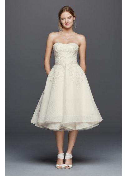Oleg Cassini Short Strapless Lace Wedding Dress | David\'s Bridal