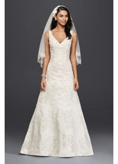 Oleg Cassini V Neck Lace A Line Wedding Dress