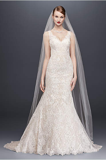 Oleg Cassini Lace Trumpet Wedding Dress
