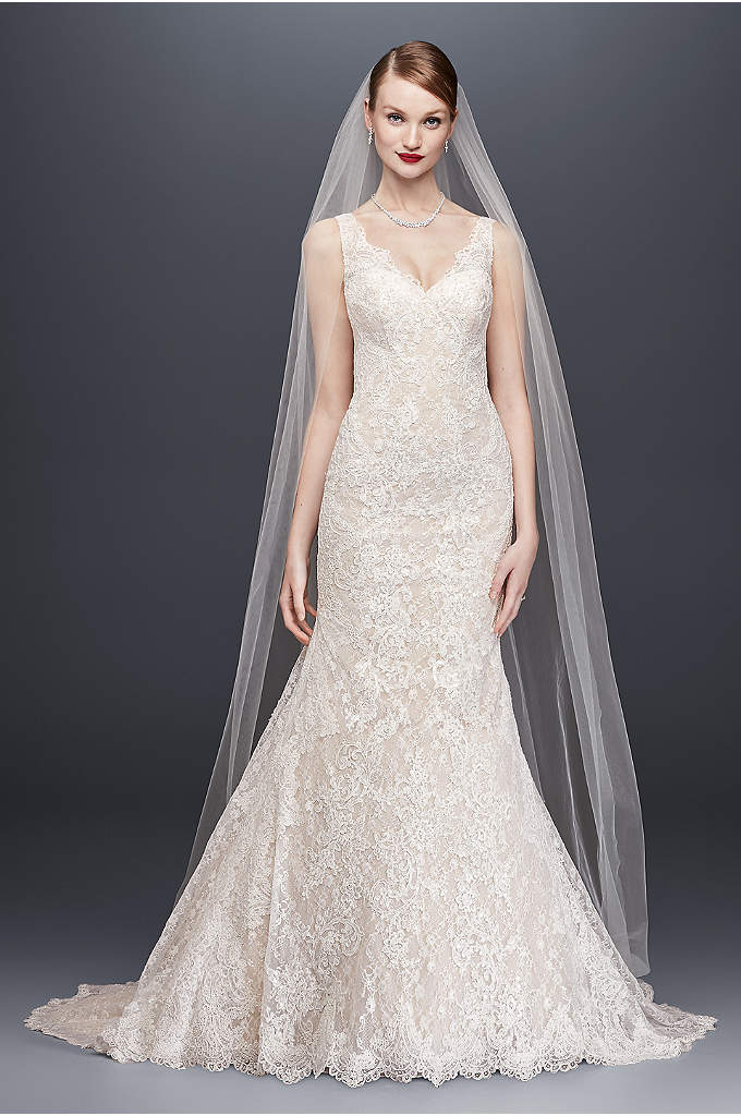 Oleg Cassini Lace Trumpet Wedding Dress - Head-to-toe lace is the star of this trumpet